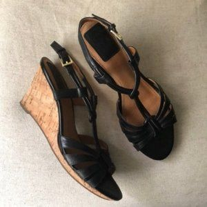 Clarks Bendables Black Strappy Cork Wedge 10M
